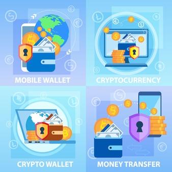 Mobiele crypto-portemonnee. geldtransactie met cryptocurrency