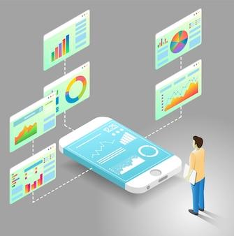Mobiele data-analyse vector isometrische stroomdiagram