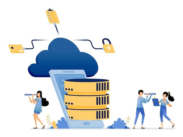 Mobiele database-apps verbonden met het cloudopslagmediaservicenetwerk