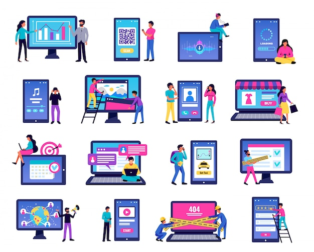 Mobiele die toepassingspictogrammen met laptop en smartphonesymbolen vlak geïsoleerde illustratie worden geplaatst