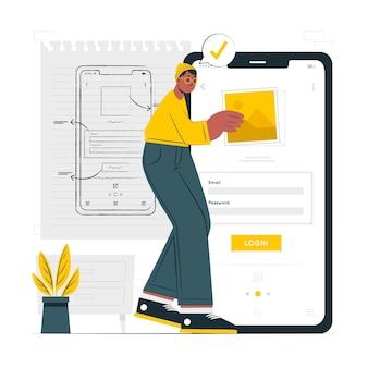 Mobiele draadframe concept illustratie