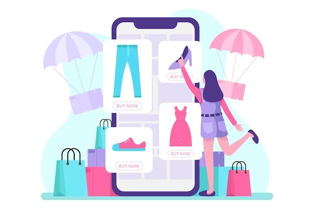 Mobiele e-commerce illustratie. .