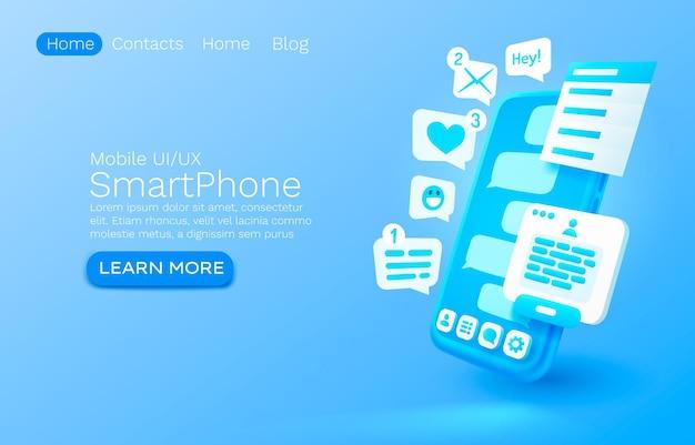 Mobiele e-mailbericht chat internet website banner ontwerp vector