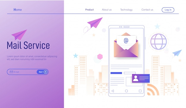 Mobiele e-mailservice, zakelijke e-mailmarketing, nieuwsbrief en elektronische post