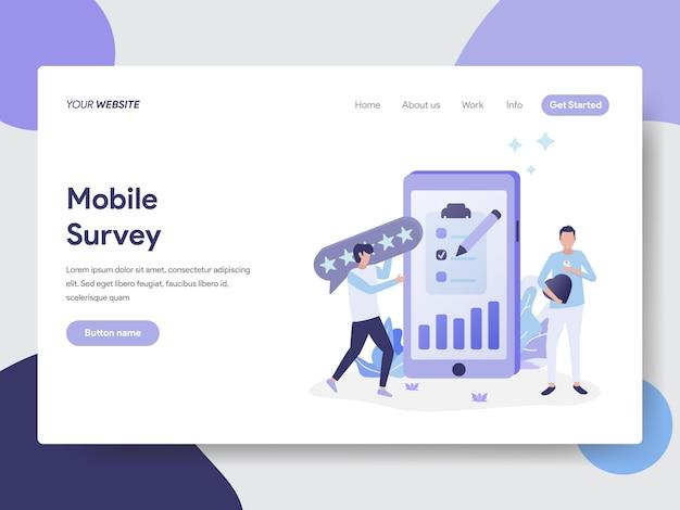Mobiele enquête illustratie voor webpagina's