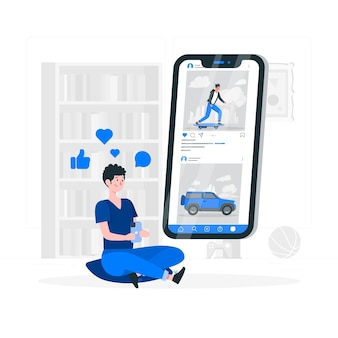 Mobiele feed concept illustratie