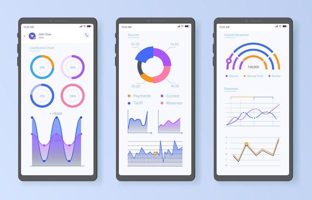 Mobiele financiële apps ui graphic bankrekeningen monitoring budgettering applicatie inkomen vector