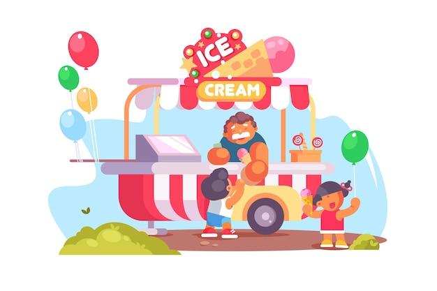 Mobiele foodtruck en bestelwagen met ijs. kleurrijke ballonnen en gelukkige kinderen