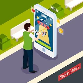 Mobiele games isometrische samenstelling