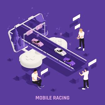 Mobiele gaming isometrische illustratie