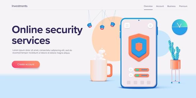 Mobiele gegevensbeveiliging in 3d-illustratiesysteemconcept met smartphone en verificatiecodeveld