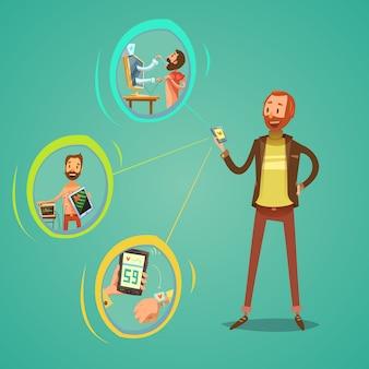 Mobiele geneeskunde illustratie
