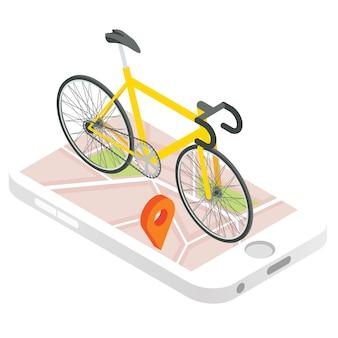 Mobiele gps-navigatie vector pictogram. isometrische 3d-afbeelding. fiets op een mobiele telefoon met stadsplattegrond op een scherm. tracking-app voor smartphones.