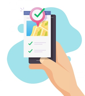 Mobiele kaart gps positie locatie navigator met pin pointer bestemming op persoon die telefoon plat