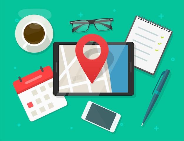 Mobiele kaartnavigator met speldwijzermarkering op stadsstraatweg op het tafelbureau van het tabletcomputerscherm