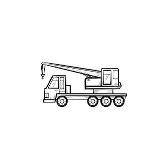 Mobiele kraan hand getrokken schets doodle pictogram. bouw vrachtwagen met mobiele kraan vector schets illustratie voor print, web, mobiel en infographics geïsoleerd op een witte achtergrond.