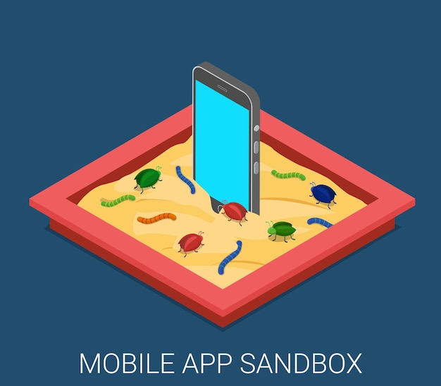 Mobiele kwaadaardige software applicatie ontwikkeling sandbox debuggen plat isometrisch