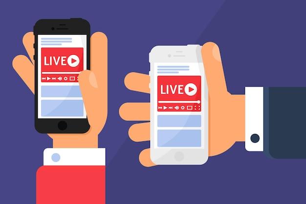 Mobiele livestream in handen concept illustratie. zakelijk nieuws uitzenden. online streaming op smartphonescherm. modern semi-plat ontwerp. vector geïsoleerde kleurtekening