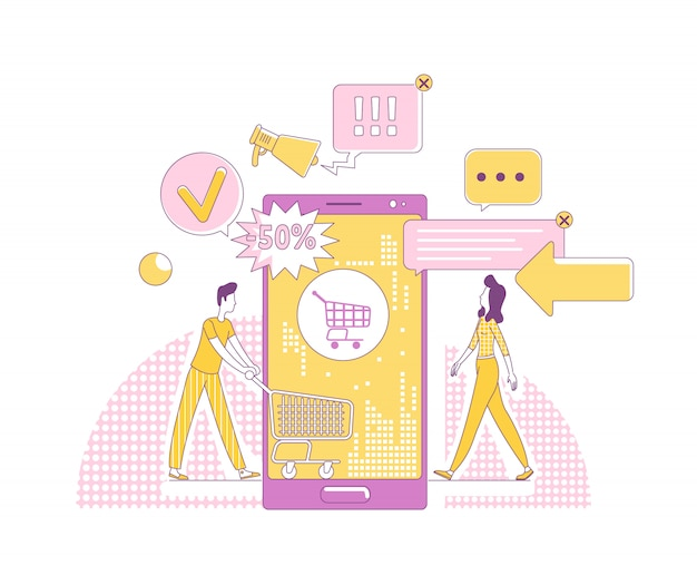 Mobiele marketing dunne lijn concept illustratie. klanten stripfiguren voor web. internetreclamezaken, online winkeltechnologie, creatief idee voor verkooppromotie