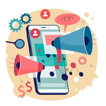 Mobiele marketing illustratie