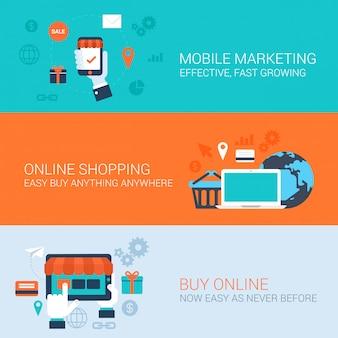 Mobiele marketing online winkelen kopen gemakkelijk betalen concepten vlakke stijl illustraties.