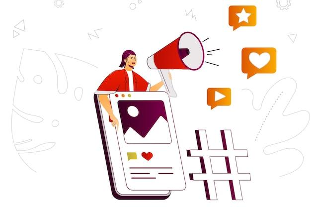 Mobiele marketing webconcept promotie en reclame in mobiele applicatie