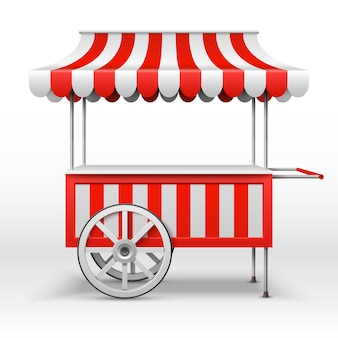 Mobiele marktkraam met wielen.