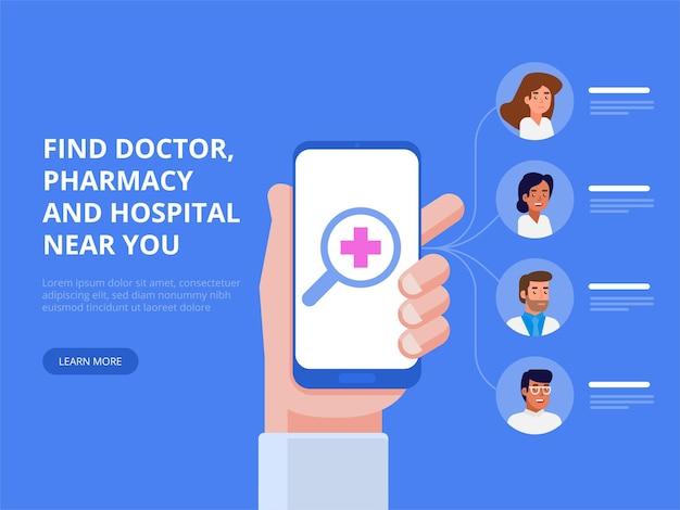 Mobiele medische applicatie. arts online concept. vlakke afbeelding