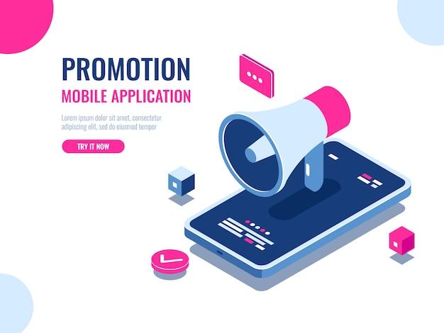 Mobiele melding, luidspreker, mobiele applicatie-advertenties en promotie, digitaal pr-beheer