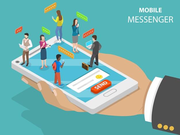 Mobiele messenger plat isometrische vector concept.