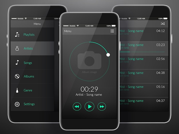 Mobiele muziek applicatie-interface ontwerpconcept in donkere kleuren vlakke afbeelding