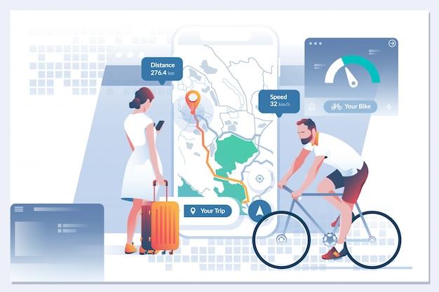 Mobiele navigatie gps. zoekindex op navigatie