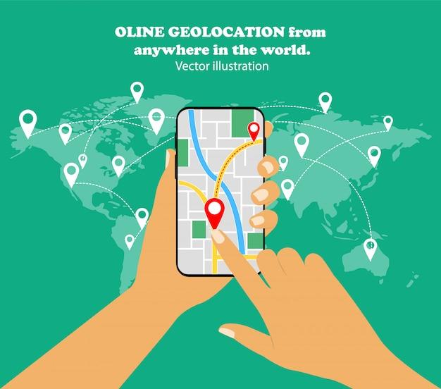 Mobiele navigatie. online geolocatie in een smartphone overal ter wereld.