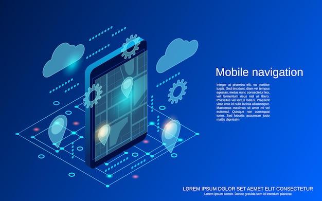 Mobiele navigatie platte isometrische vector concept illustratie