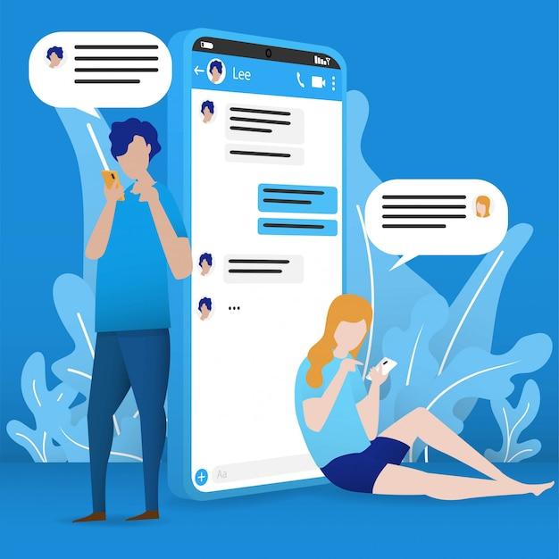 Mobiele online chat-meeting een man chat online met een vrouw via internet online in minimalistisch design.