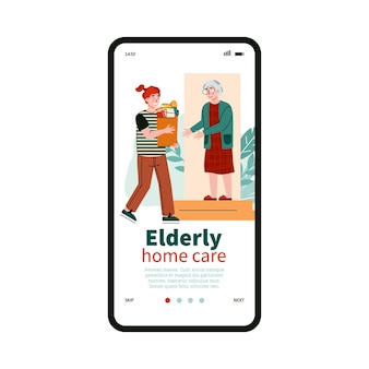 Mobiele pagina voor diensten van ouderen thuiszorg vlakke afbeelding