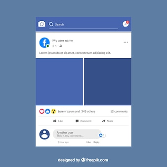 Mobiele post op facebook met plat ontwerp