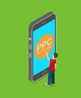 Mobiele ppc betalen per klik plat isometrisch