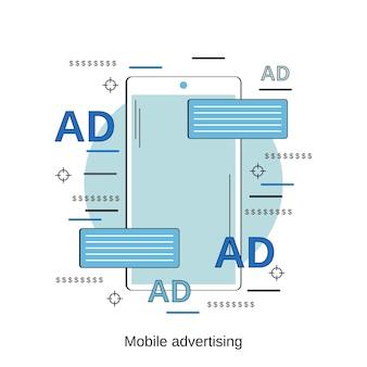 Mobiele reclame platte ontwerp stijl vector concept illustratie