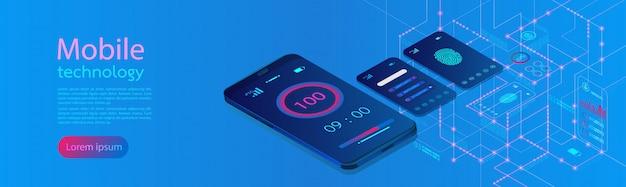 Mobiele schermen moderne infographic banner