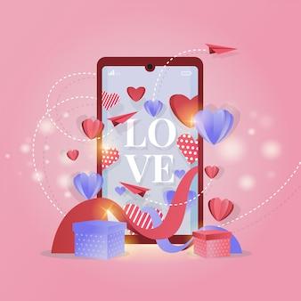Mobiele schermweergave met liefdeteksten voor valentijnsdaggroeten