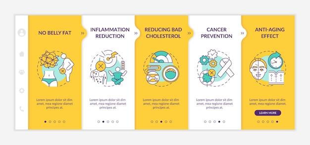 Mobiele sjabloon voor onboarding-app voor dieetvoordelen