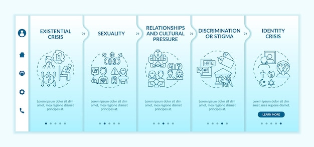Mobiele sjabloon voor onboarding-app voor religieuze kwesties