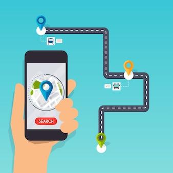 Mobiele smartphone-app met track weergegeven