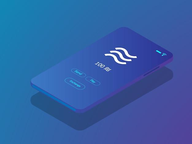 Mobiele smartphone met weegschaalmuntstuk in crypto munttoepassing vector isometrische illustratie