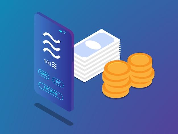 Mobiele smartphone met weegschaalmuntstuk in crypto valutatoepassing en de vectorillustratie van de geldstapel isometrische