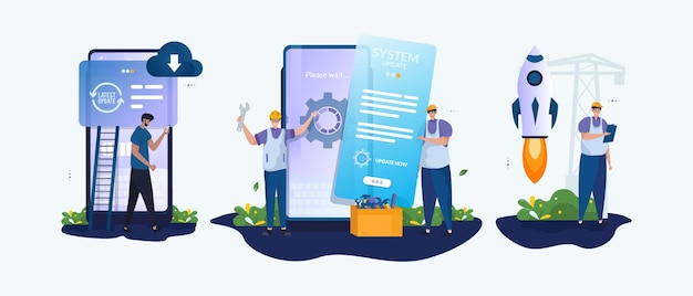Mobiele software-updates onder technicus onderhoud illustratie set concept
