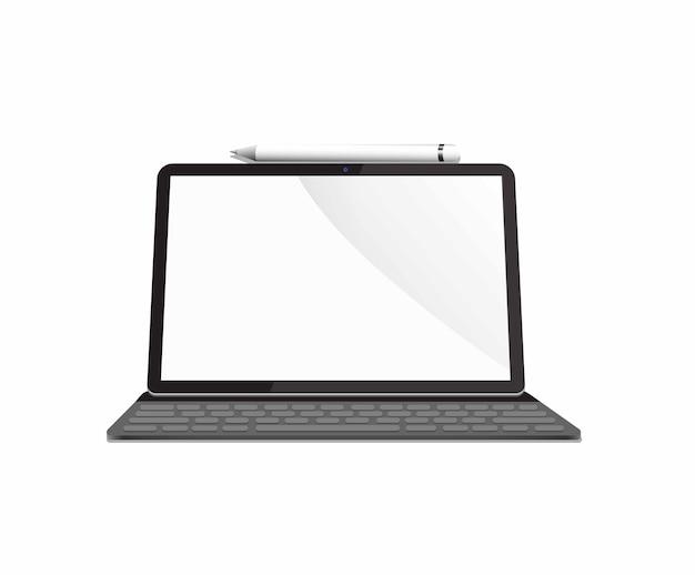 Mobiele tablet met toetsenbord en stylus pen concept realistische afbeelding