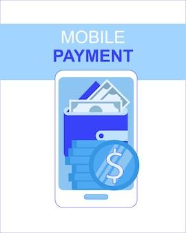 Mobiele telefoon betaling app met geld portemonnee scherm vectorillustratie