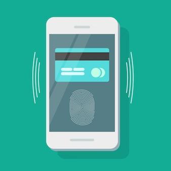 Mobiele telefoon betaling creditcard beschermd met vingerafdruk identiteit vector platte cartoon